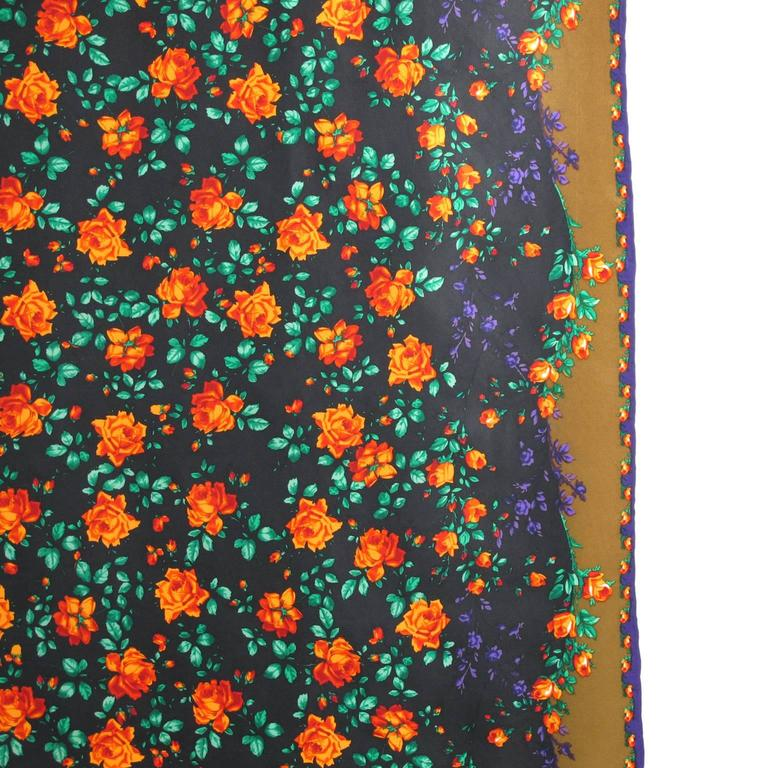 Women's Vintage 1980s Kenzo Silk Scarf Colorful Floral Pattern For Sale