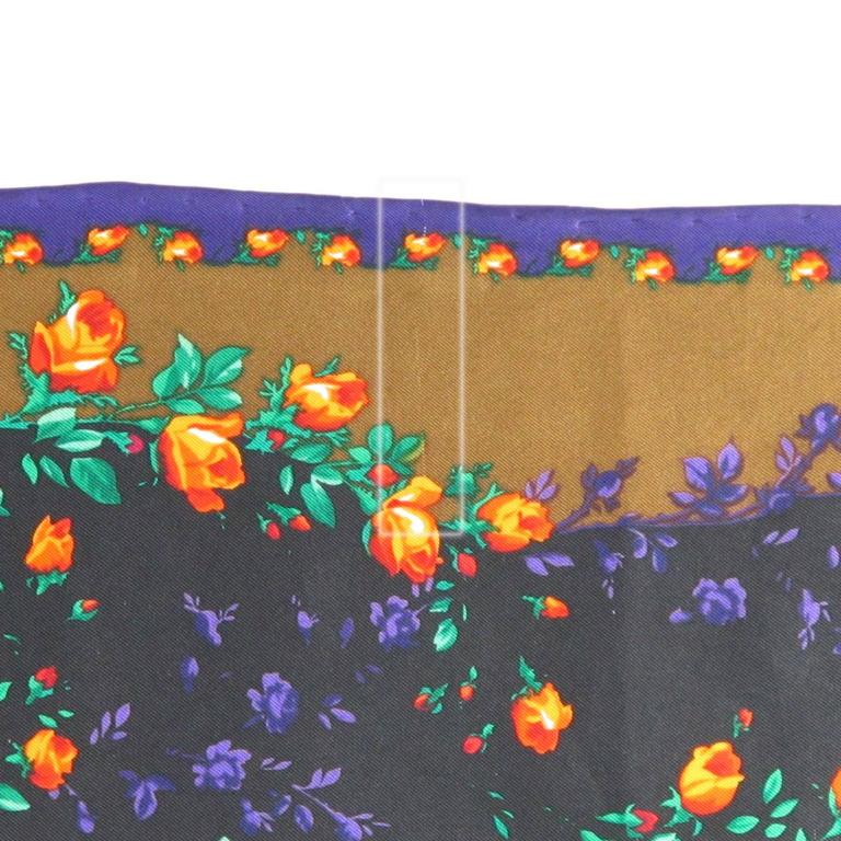 Vintage 1980s Kenzo Silk Scarf Colorful Floral Pattern For Sale 2