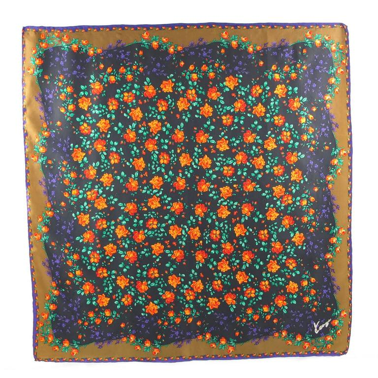 Vintage 1980s Kenzo Silk Scarf Colorful Floral Pattern For Sale 3