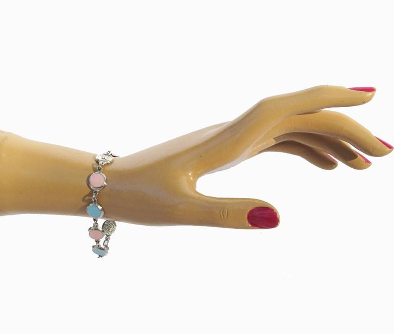 Courreges Bracelet Vintage Rare 70s Space Age Silvertone Pastel Enamel 6