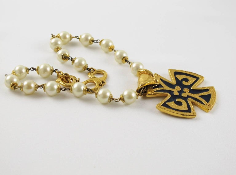 Yves Saint Laurent Romantic Necklace Large Cross Pendant Pearl and Enamel For Sale 1