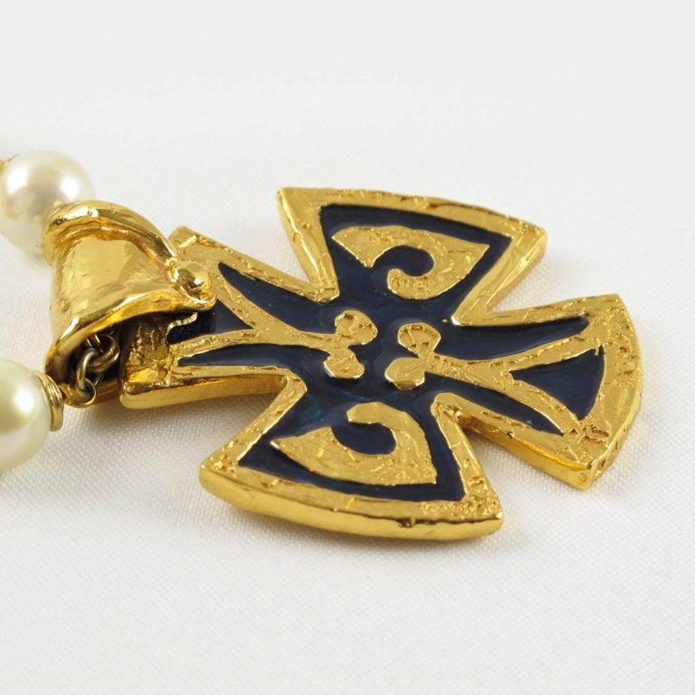Women's Yves Saint Laurent Romantic Necklace Large Cross Pendant Pearl and Enamel For Sale