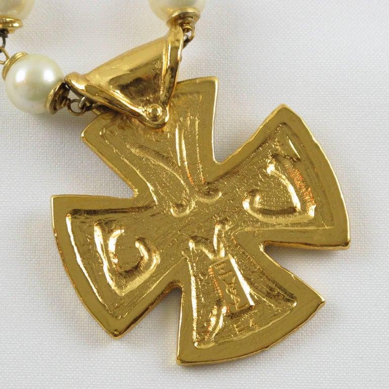Yves Saint Laurent Romantic Necklace Large Cross Pendant Pearl and Enamel For Sale 4