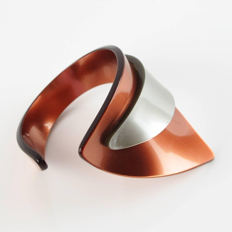Modernist Rare French Artisan Studio Space Age Lucite Sculptural Cuff Bracelet For Sale
