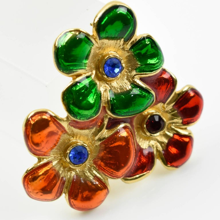 4f31587f302 Lovely Yves Saint Laurent YSL Paris signed pin brooch. Elegant gilt metal  floral shape,