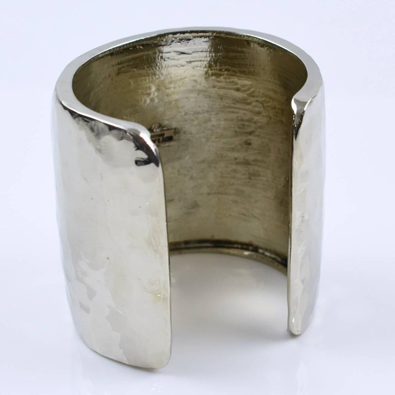 Guy Laroche Paris Signed Slave Cuff Bracelet Brutalist Shinny Silvered Metal For Sale 1