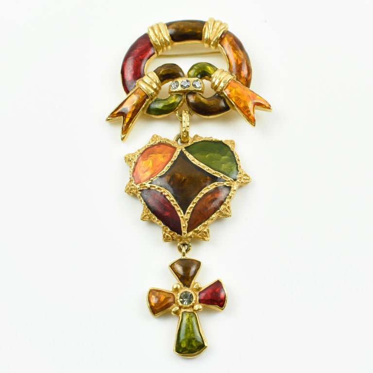 Christian Lacroix Paris Signed Large Enamel Jeweled Cross Heart Pin Brooch In Excellent Condition For Sale In Atlanta, GA