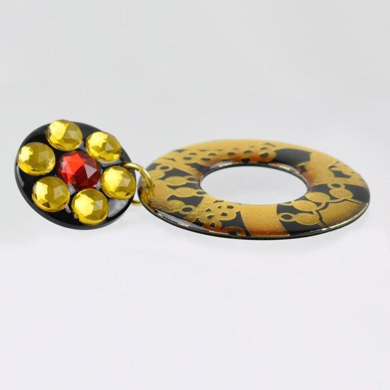Women's or Men's Italian Baroque Dangling Geometric Chandelier Lucite Clip-on Earrings Black Gold For Sale