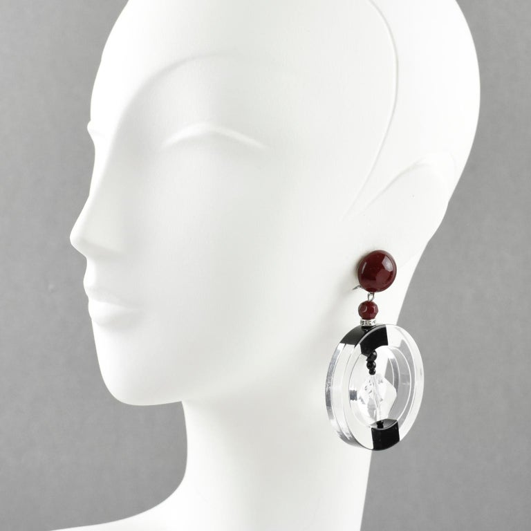 Modern Angela Caputi Large Hoop Dangling Black and Clear Resin Clip On Earrings For Sale