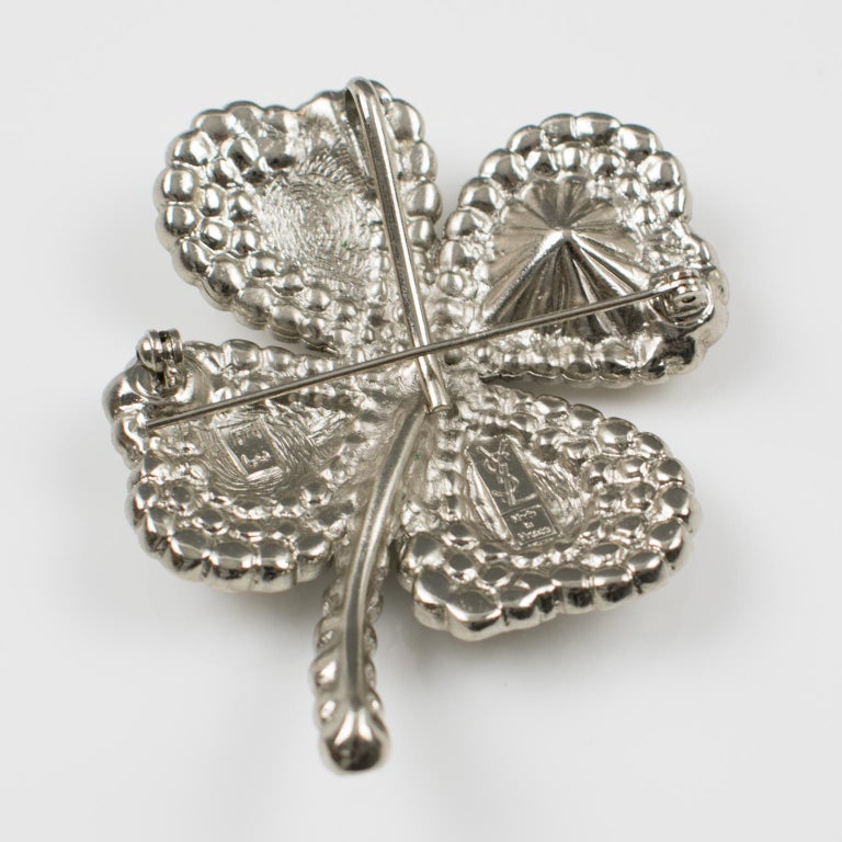 a0a3e21874e Women's Yves Saint Laurent YSL Jeweled Pin Brooch Four-leaf Clover Clear  Rhinestones For Sale