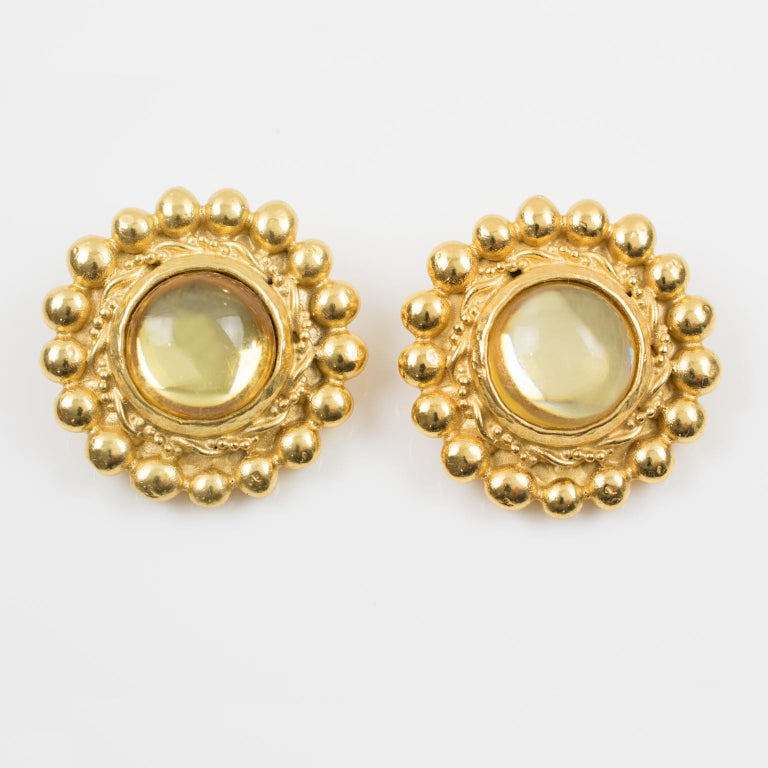 Modern Sonia Rykiel Paris Signed Clip Earrings Gilt Metal Champagne Resin Cabochon For Sale
