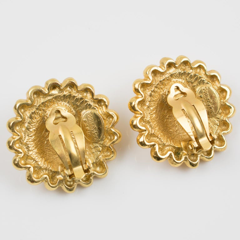Sonia Rykiel Paris Signed Clip Earrings Gilt Metal Champagne Resin Cabochon In Excellent Condition For Sale In Atlanta, GA