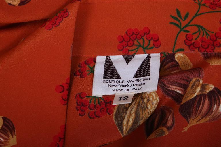 1970's Valentino 2pc Velvet Maxi Skirt & Silk Blouse in Rare Acorn Print 3