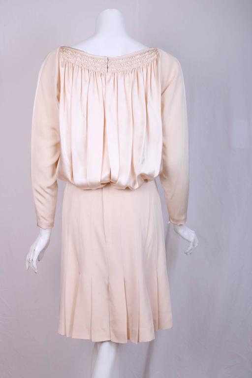 Galanos Cream Silk Charmeuse Cocktail Dress  2