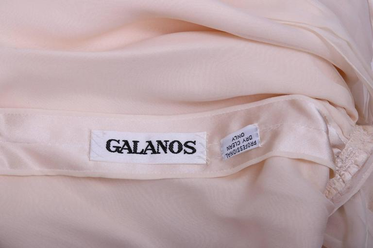Galanos Cream Silk Charmeuse Cocktail Dress  In Excellent Condition For Sale In Los Angeles, CA