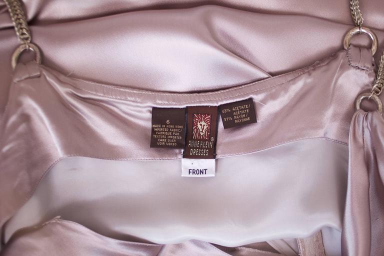 Anne Klein Mini Shift Cocktail Dress w/Fishtail Metal Chain Straps & Cowl Back For Sale 1