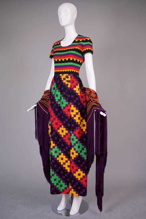 1970's Lanvin Textured Pique Cotton Geometric Print Maxi Dress w/Matching Scarf 5