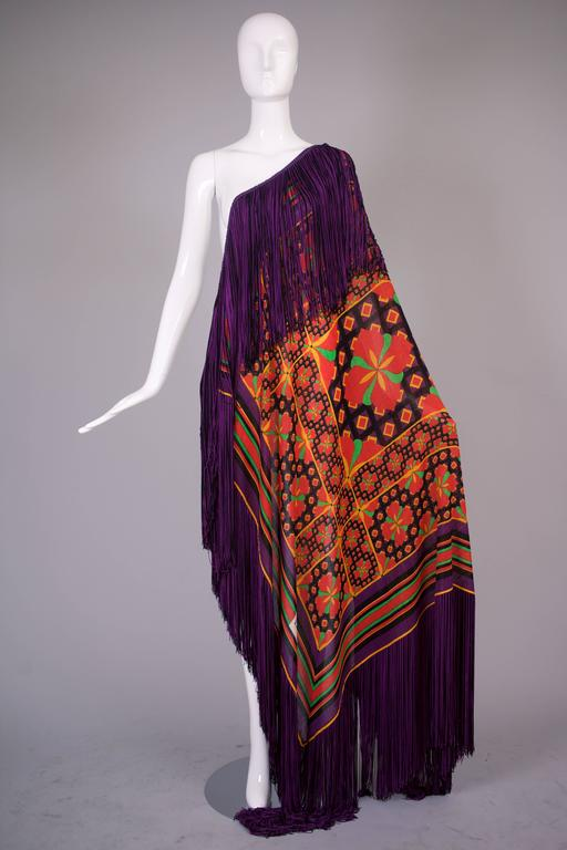 1970's Lanvin Textured Pique Cotton Geometric Print Maxi Dress w/Matching Scarf 6