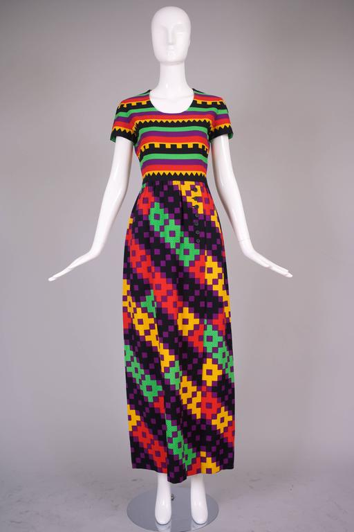 1970's Lanvin Textured Pique Cotton Geometric Print Maxi Dress w/Matching Scarf 3