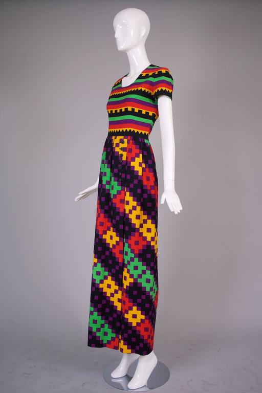 1970's Lanvin Textured Pique Cotton Geometric Print Maxi Dress w/Matching Scarf 4