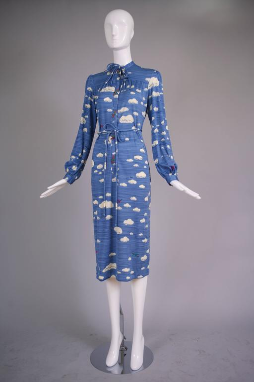 Hanae Mori Cloud & Airplane Novelty Print Day Dress w/Bakelite Airplane Buttons 3
