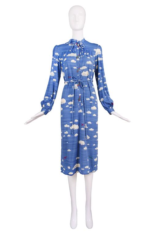 Hanae Mori Cloud & Airplane Novelty Print Day Dress w/Bakelite Airplane Buttons 2