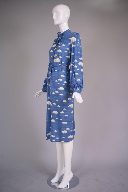Hanae Mori Cloud & Airplane Novelty Print Day Dress w/Bakelite Airplane Buttons 4