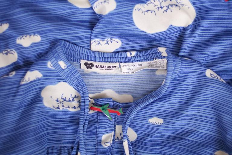 Hanae Mori Cloud & Airplane Novelty Print Day Dress w/Bakelite Airplane Buttons 7