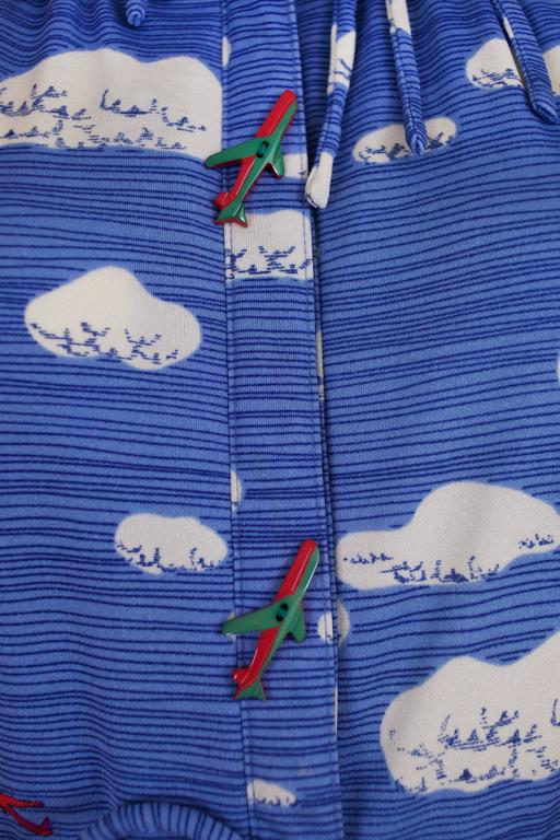 Hanae Mori Cloud & Airplane Novelty Print Day Dress w/Bakelite Airplane Buttons 6