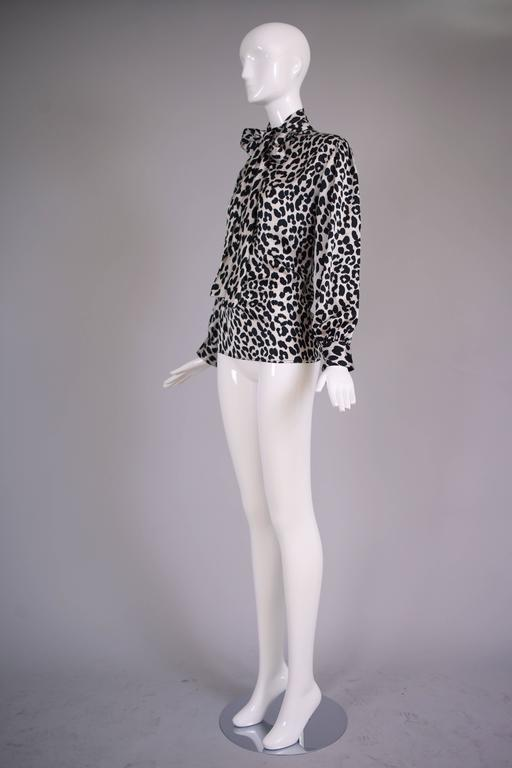 1970s Yves Saint Laurent YSL Silk Black And White Leopard