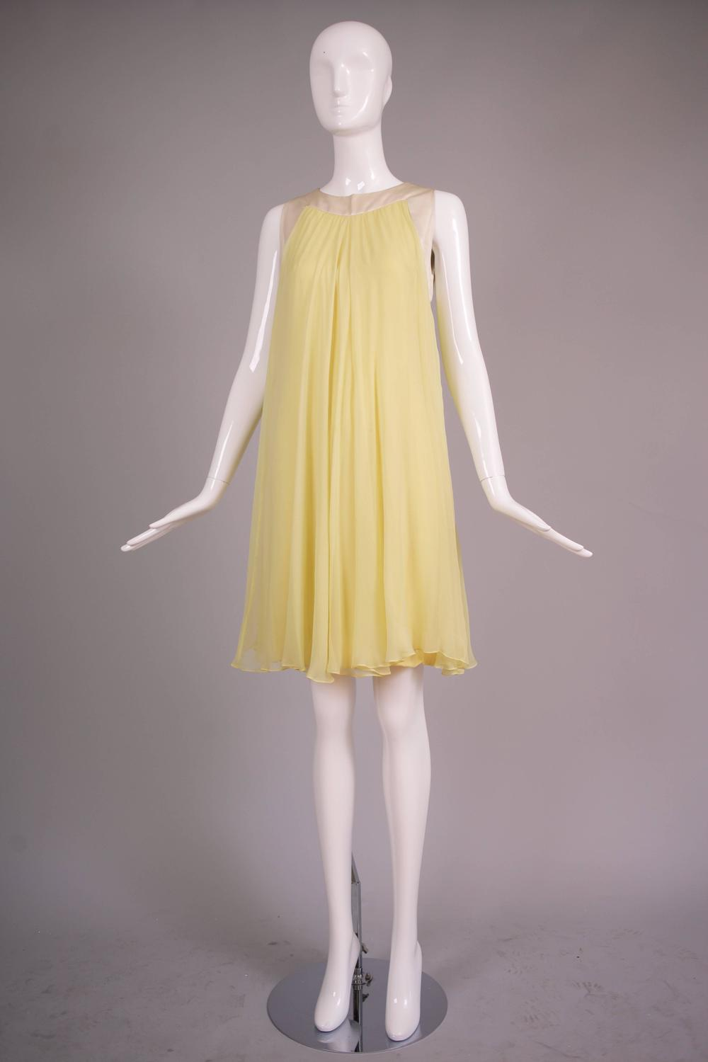 Valentino Yellow Silk Chiffon Baby Doll Dress At 1stdibs