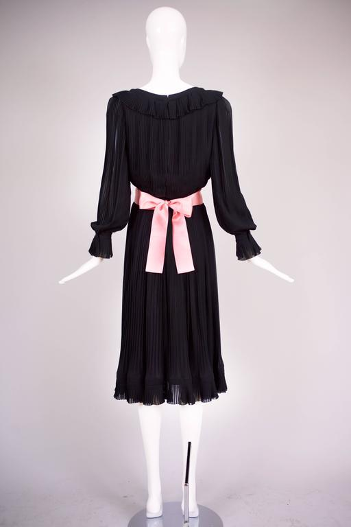 1974 Christian Dior Haute Couture Black Silk Chiffon Pleated Dress No.00299I For Sale 2