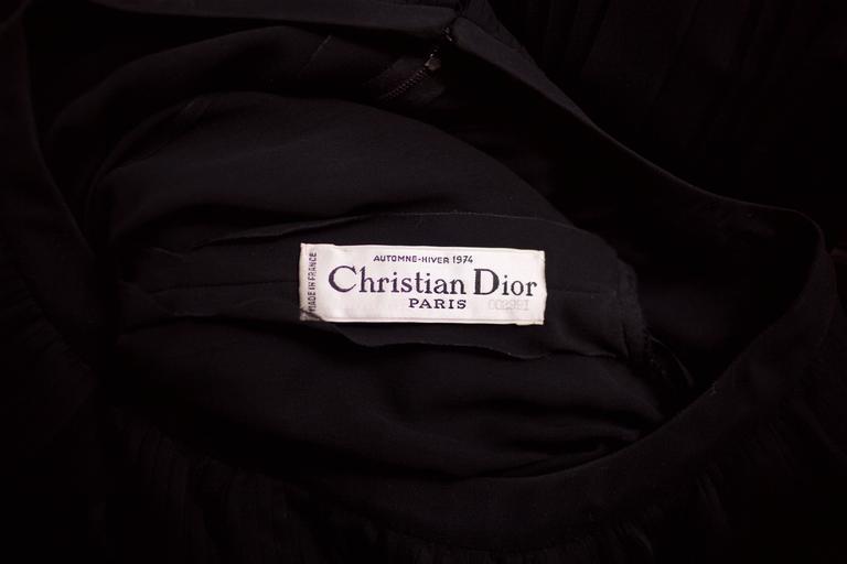 1974 Christian Dior Haute Couture Black Silk Chiffon Pleated Dress No.00299I For Sale 4