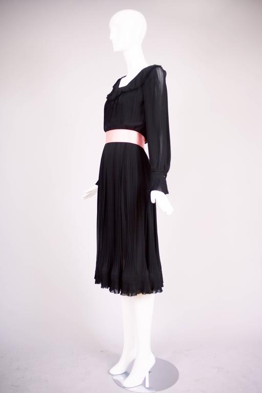 1974 Christian Dior Haute Couture Black Silk Chiffon Pleated Dress No.00299I For Sale 3