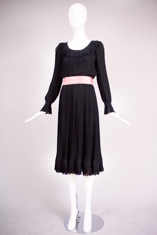 1974 Christian Dior Haute Couture Black Silk Chiffon Pleated Dress No.00299I For Sale 1