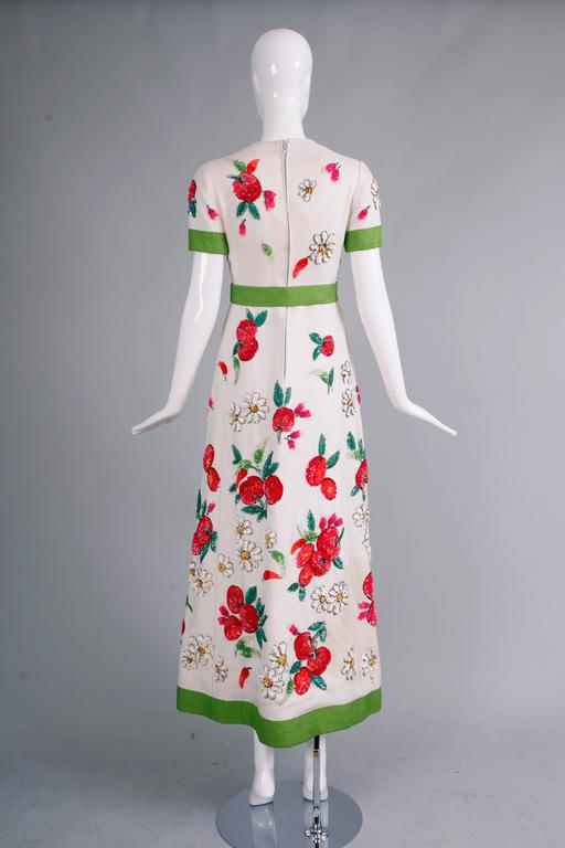Women's 1960's Nina Ricci Couture Summer Evening Gown w/Floral Sequin Design For Sale