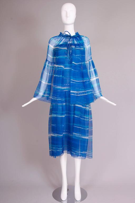 1977 Christian Dior Haute Couture Chiffon Watercolor Print
