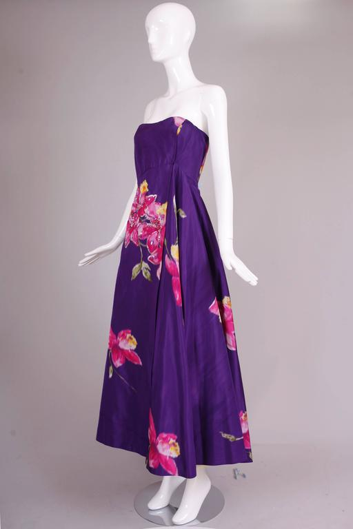 Christian Lacroix Purple Floral Silk Sequin Applique Strapless Evening Gown  3