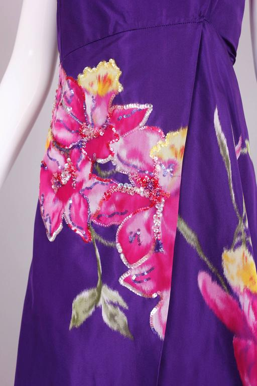 Christian Lacroix Purple Floral Silk Sequin Applique Strapless Evening Gown  4