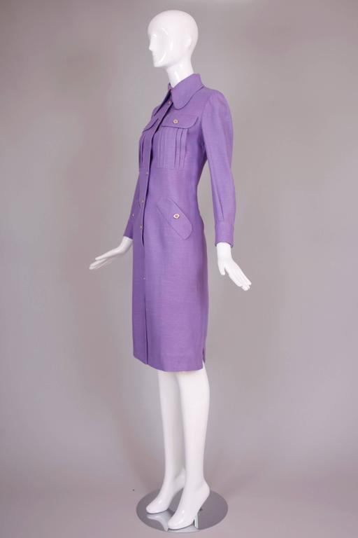 1970's Donald Brooks Lilac Linen Button Down Day Dress 4