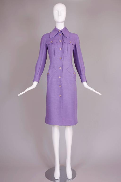 1970's Donald Brooks Lilac Linen Button Down Day Dress 3
