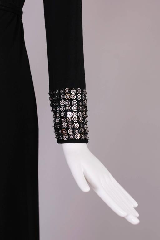 1970's Rizkallah for Malcolm Starr Black Beaded & Sequined Evening Gown Dress 4