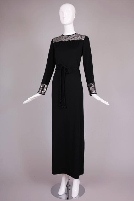 1970's Rizkallah for Malcolm Starr Black Beaded & Sequined Evening Gown Dress 2