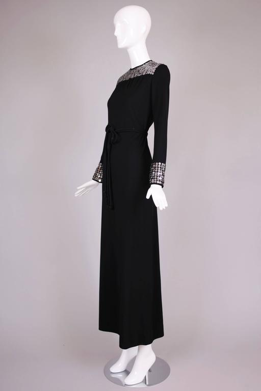 1970's Rizkallah for Malcolm Starr Black Beaded & Sequined Evening Gown Dress 3