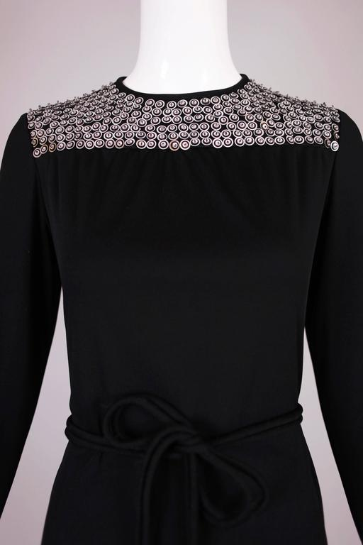 1970's Rizkallah for Malcolm Starr Black Beaded & Sequined Evening Gown Dress 5