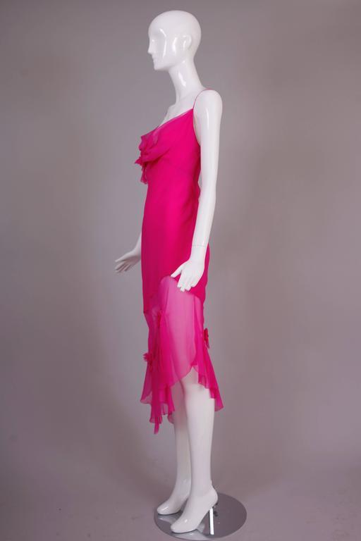 John Galliano for Christian Dior Shocking Pink Silk Chiffon Dress Ca. 2000 4
