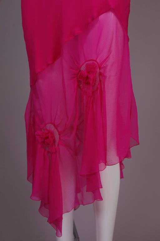 John Galliano for Christian Dior Shocking Pink Silk Chiffon Dress Ca. 2000 6