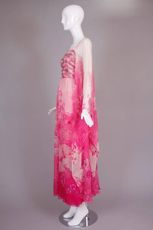 1970's Hanae Mori Couture Pink Chiffon Beaded Floral Print Evening Gown  For Sale 1