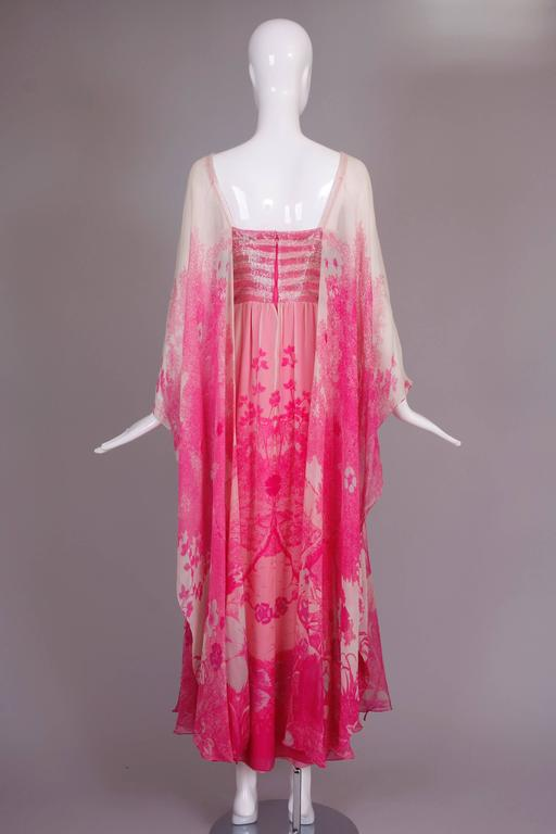 1970's Hanae Mori Couture Pink Chiffon Beaded Floral Print Evening Gown  For Sale 2