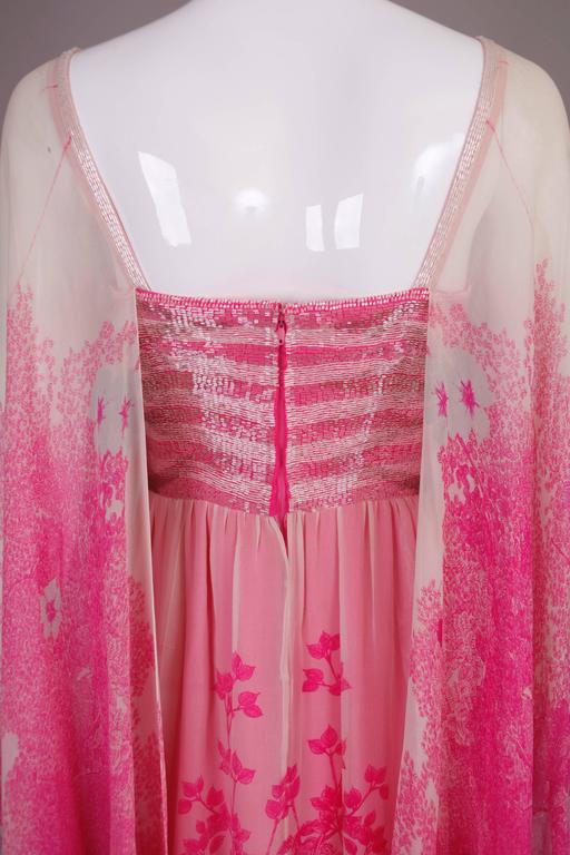 1970's Hanae Mori Couture Pink Chiffon Beaded Floral Print Evening Gown  For Sale 3